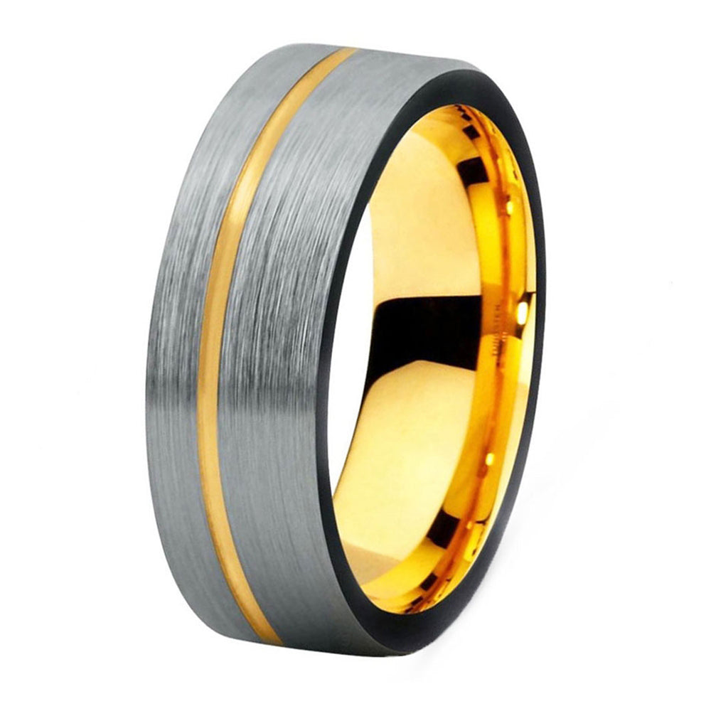 tungsten ring itm brushed silver mens rings atop wedding stripe s carbide band black edge gold