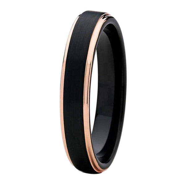 Black Tungsten Ring Rose Gold Wedding Band Ring Brushed Tungsten Carbide 4mm 18K Tungsten Ring Man Wedding Band Stepped Edges Male Women Anniversary His Hers Matching - TungstenWeddingBands