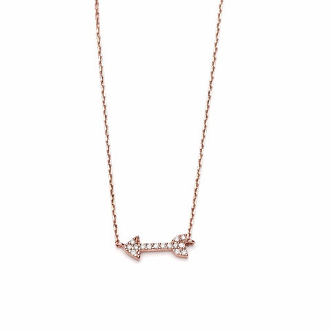 14k Rose Gold Diamond Arrow Necklace - TungstenWeddingBands