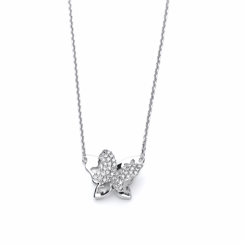 14k White Gold Diamond Butterfly Necklace - TungstenWeddingBands