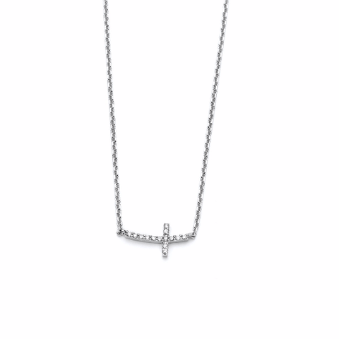 14k White Gold Diamond Cross Necklace - TungstenWeddingBands