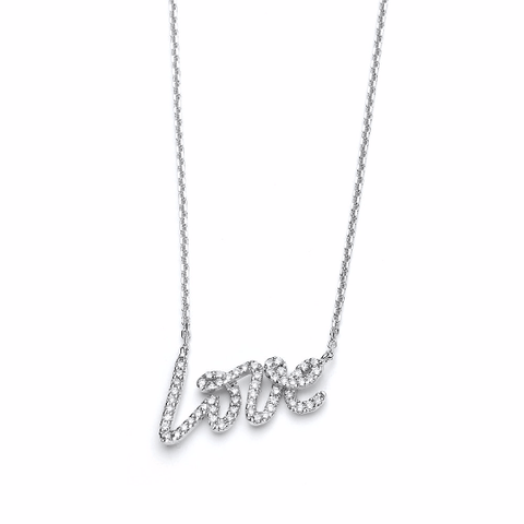 14k White Gold Diamond Love Necklace - TungstenWeddingBands