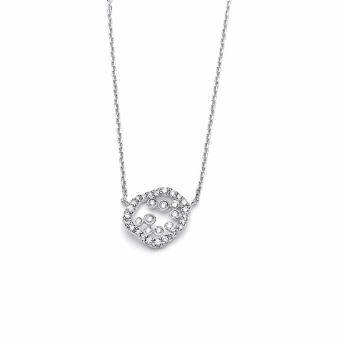 14k White Gold Diamond Pendant Necklace - TungstenWeddingBands