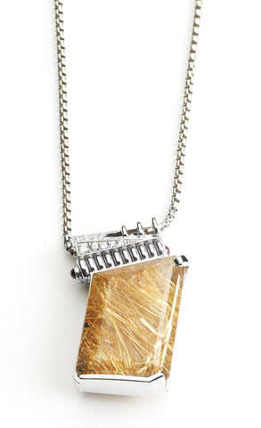 14k White Gold Rutile Quartz Necklace - TungstenWeddingBands