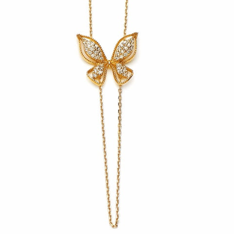 14k Yellow Gold Diamond Butterfly Necklace - TungstenWeddingBands