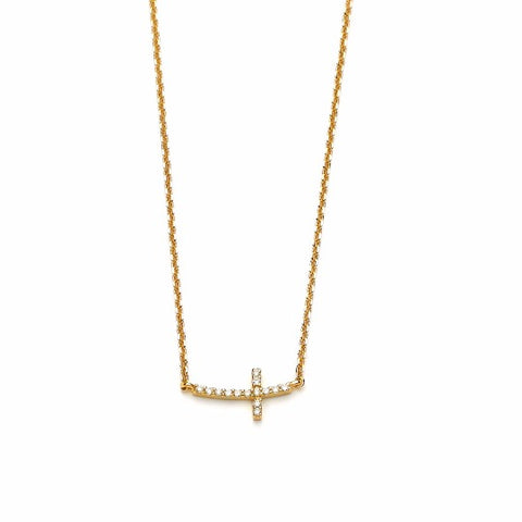 14k Yellow Gold Diamond Cross Necklace - TungstenWeddingBands