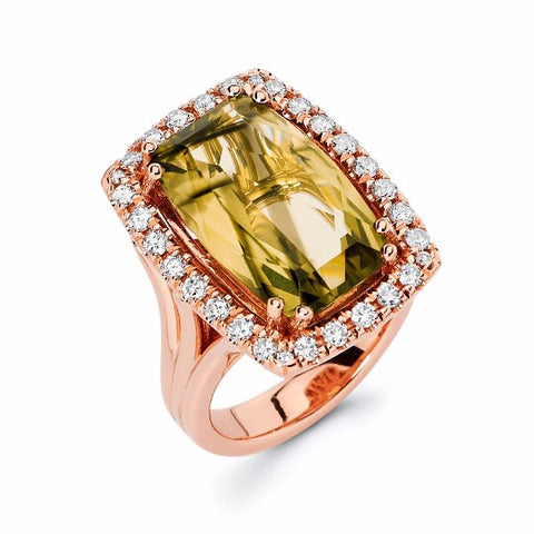 14k Rose Gold Lemon Quartz Ring - TungstenWeddingBands