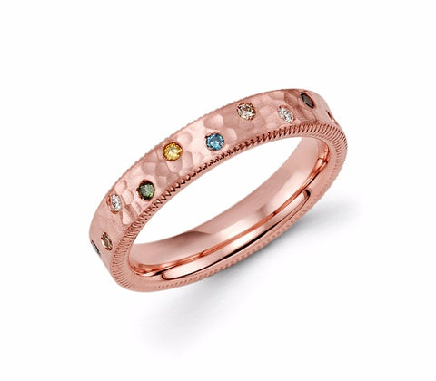 14k Rose Gold Multi Diamond Ring - TungstenWeddingBands