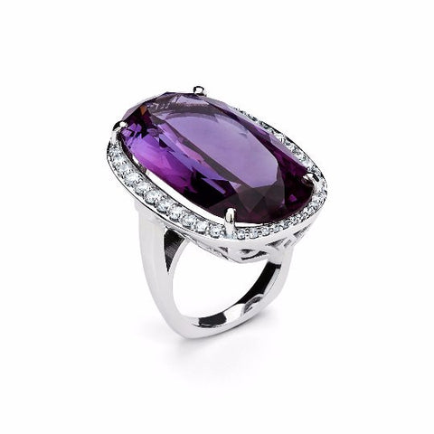 14k White Gold Amethyst Ring - TungstenWeddingBands