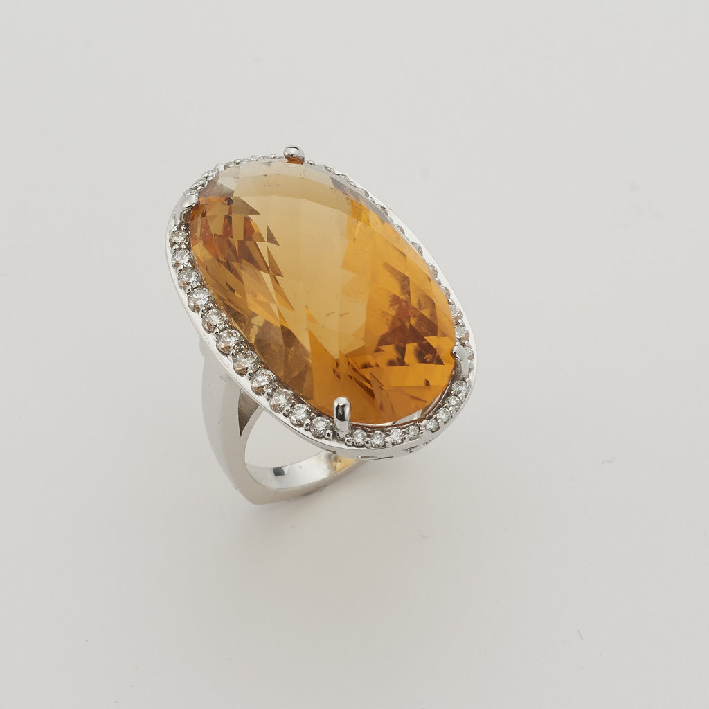 14k White Gold Citrine Ring - TungstenWeddingBands