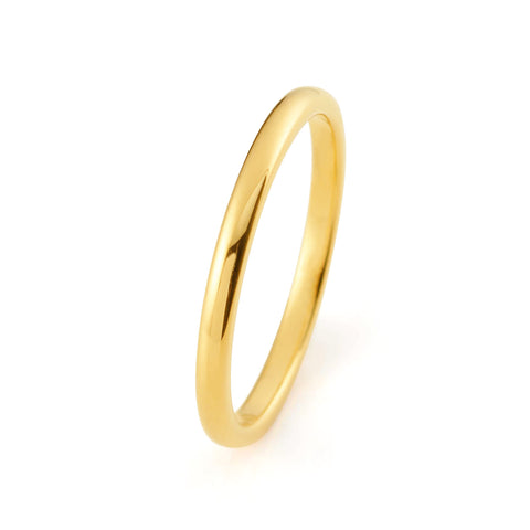 2mm Yellow Gold Ring High Polished Tungsten Carbide 18k Tungsten Ring Male Female Unisex Matching His Hers Promise Engagement Band Anniversary Wedding Band - TungstenWeddingBands
