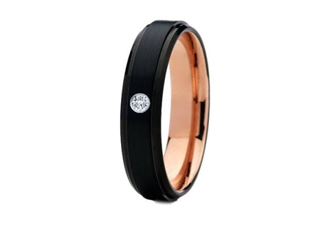 6mm Black and Rose Gold Diamond Tungsten Wedding Band - TungstenWeddingBands
