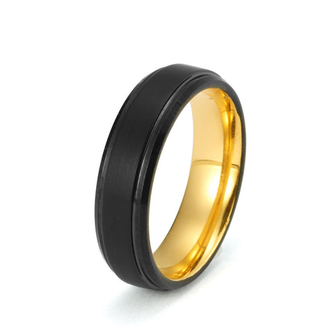 Black Tungsten Ring Yellow Gold Wedding Band Ring Brushed Tungsten Carbide 6mm 18K Tungsten Ring Man Wedding Band Male Women Anniversary His Hers Matching Stepped Edges - TungstenWeddingBands