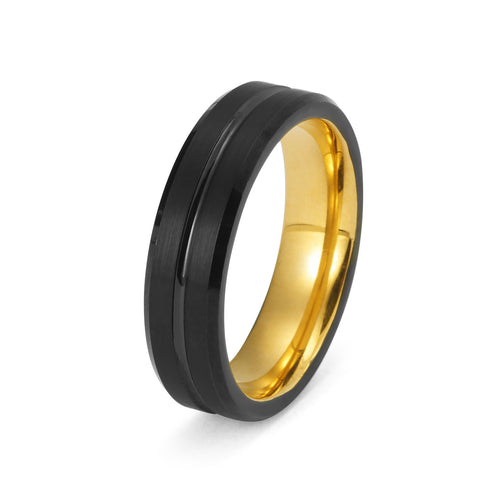 Black Tungsten Ring Yellow Gold Wedding Band Ring Brushed Tungsten Carbide 6mm 18K Tungsten Ring Mens Wedding Band Male Women Anniversary His Hers Matching Promise Beveled Edges - TungstenWeddingBands