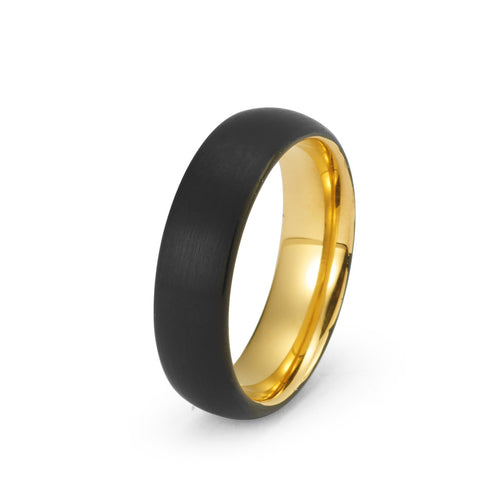 Black Tungsten Ring Yellow Gold Wedding Band Ring Brushed Tungsten Carbide 6mm 18K Tungsten Ring Man Wedding Band Male Women Anniversary His Hers Matching - TungstenWeddingBands