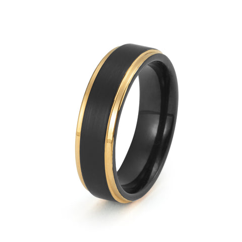 Black Tungsten Ring Yellow Gold Wedding Band Ring Tungsten Carbide Brushed 6mm 18K Tungsten Ring Man Wedding Band Male Engagement Ring Women Anniversary His Hers Matching Promise Stepped Edges - TungstenWeddingBands