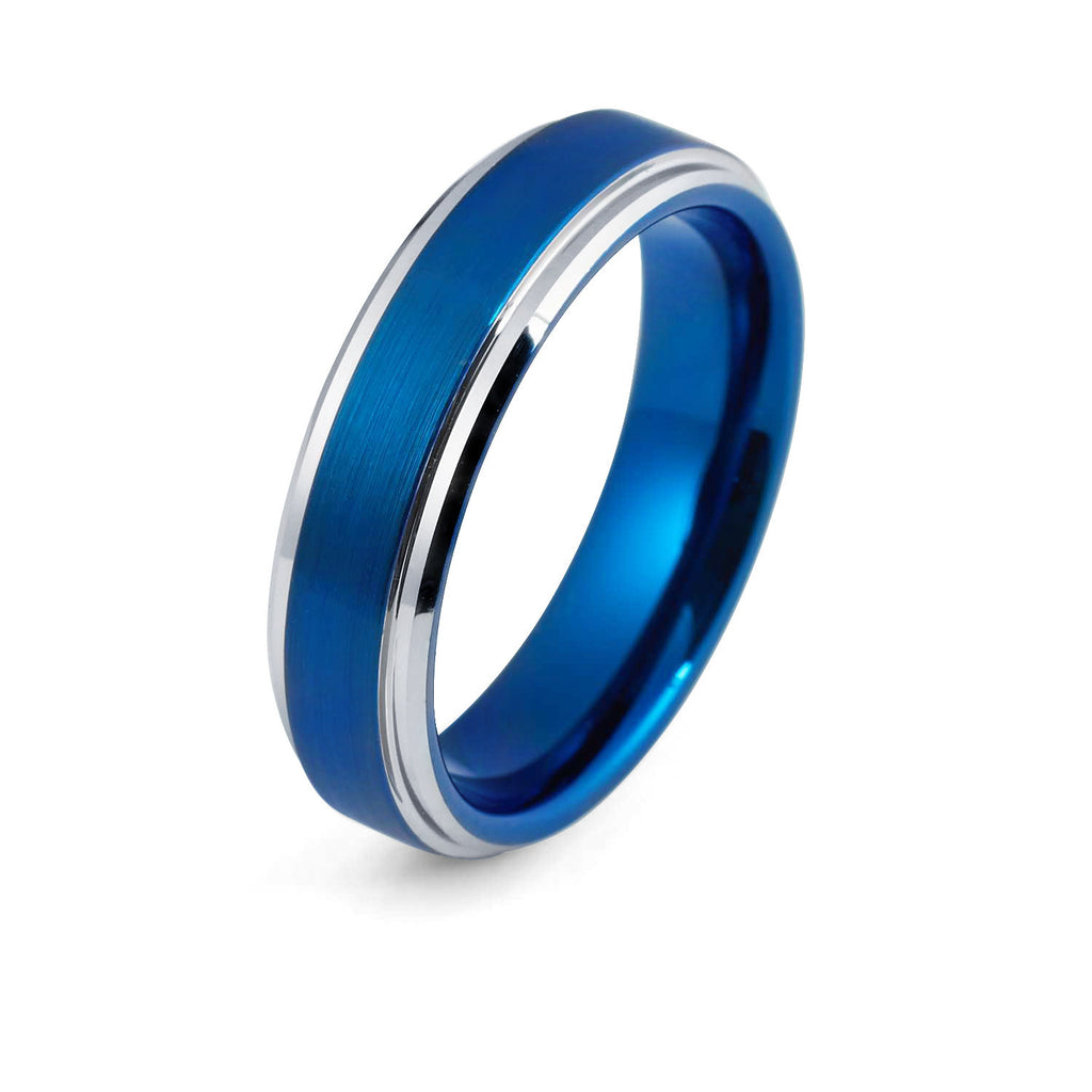 Wedding Ring - 6mm Blue Tungsten Wedding Band