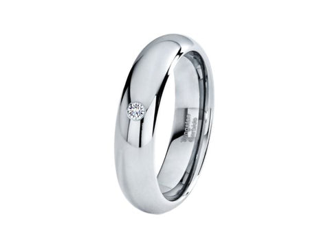 6mm Diamond Tungsten Wedding Band - TungstenWeddingBands