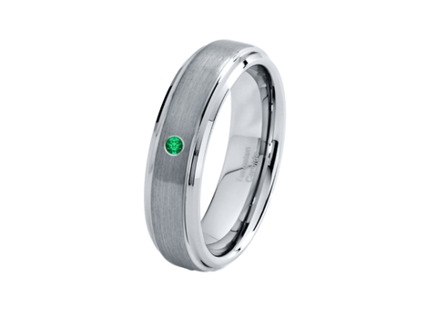 6mm Emerald Tungsten Wedding Band - TungstenWeddingBands