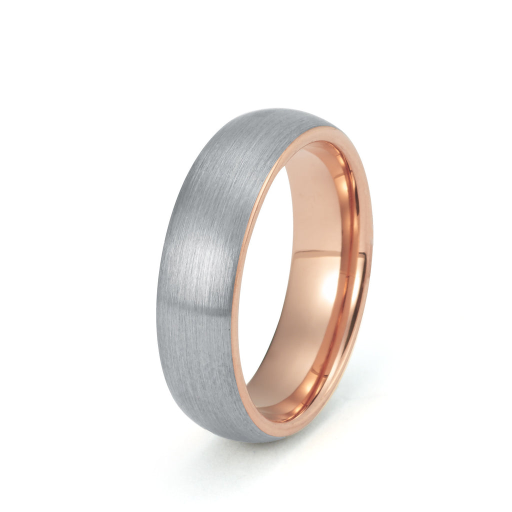 wedding ring 6mm rose gold tungsten wedding band - Tungsten Wedding Ring