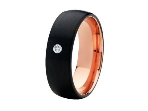 8mm Black and Rose Gold Diamond Tungsten Wedding Ring - TungstenWeddingBands