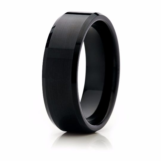Black Wedding Band Tungsten Carbide 8mm High Polished Black Tungsten Ring Mens Wedding Ring Female Male Matching Set His Hers Black Ring Scratch Proof - TungstenWeddingBands