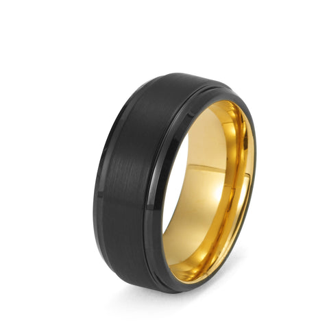 Black Tungsten Ring Yellow Gold Wedding Band Ring Brushed Tungsten Carbide 8mm 18K Tungsten Ring Man Wedding Band Male Women His Hers Matching Anniversary Promise High Polished Stepped Edges - TungstenWeddingBands