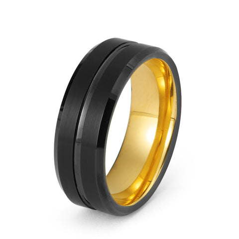 Black Tungsten Ring Yellow Gold Wedding Band Ring Tungsten Carbide 8mm 18K Tungsten Ring Man Wedding Band Male Women Anniversary His Hers Matching Promise Beveled Edges - TungstenWeddingBands