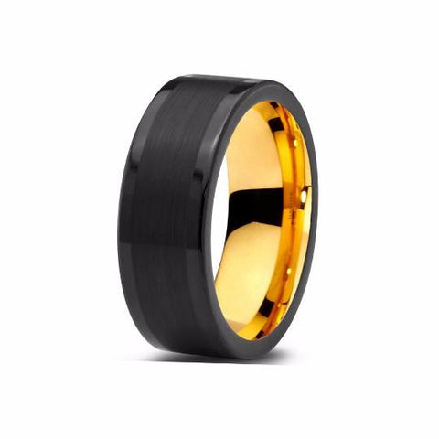 Black Tungsten Ring Yellow Gold Wedding Band Ring Brushed Tungsten Carbide 8mm 18K Tungsten Ring Man Wedding Band Male Women Anniversary Promise - TungstenWeddingBands