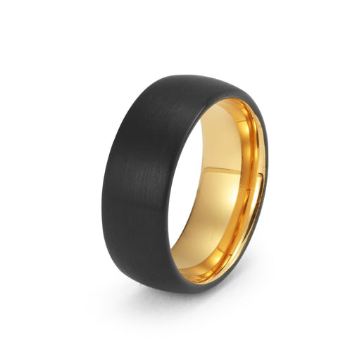 Black Tungsten Ring Yellow Gold Wedding Band Ring Brushed Tungsten Carbide 8mm 18K Tungsten Ring Man Wedding Band Male Women His Hers Matching Anniversary Promise - TungstenWeddingBands