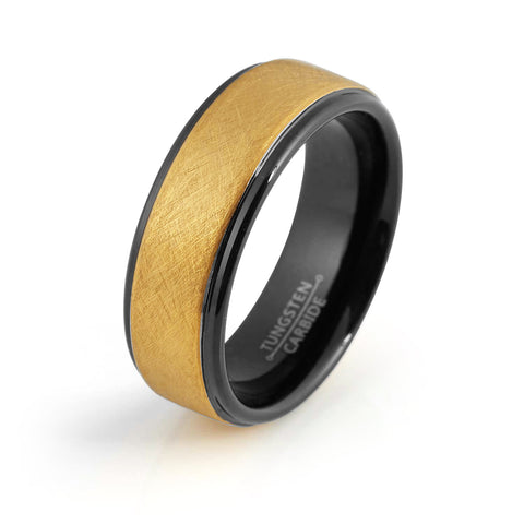 Black Tungsten Ring Yellow Gold Wedding Band Ring Man Tungsten Carbide 8mm 18K Tungsten Ring Mens Wedding Band Male Women Anniversary Promise Two Tone Stepped - TungstenWeddingBands