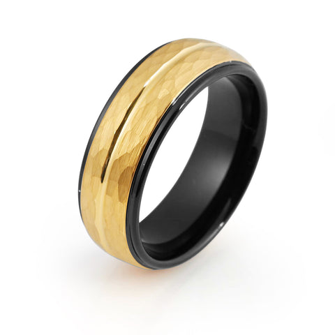 Black Tungsten Ring Yellow Gold Wedding Band Ring Man Tungsten Carbide 8mm 18K Tungsten Hammered Ring Mens Wedding Band Male Women Anniversary Promise Two Tone Stepped - TungstenWeddingBands