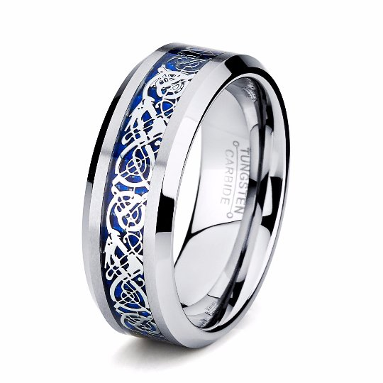 8mm Blue Dragon Tungsten Wedding Band - TungstenWeddingBands