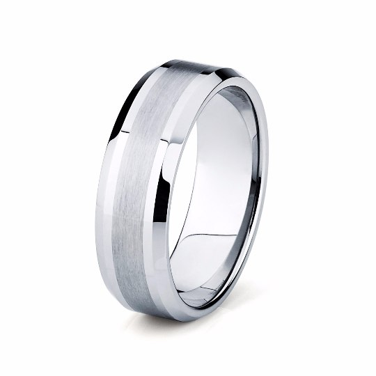 8mm Brushed and High Polished Tungsten Wedding Band - TungstenWeddingBands