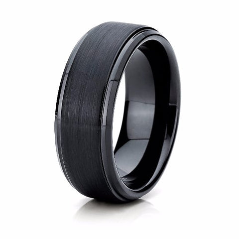 Black Wedding Band Tungsten Carbide 8mm Brushed Black Tungsten Ring Mens Wedding Ring Female Male Matching Set His Hers Black Ring Scratch Proof - TungstenWeddingBands