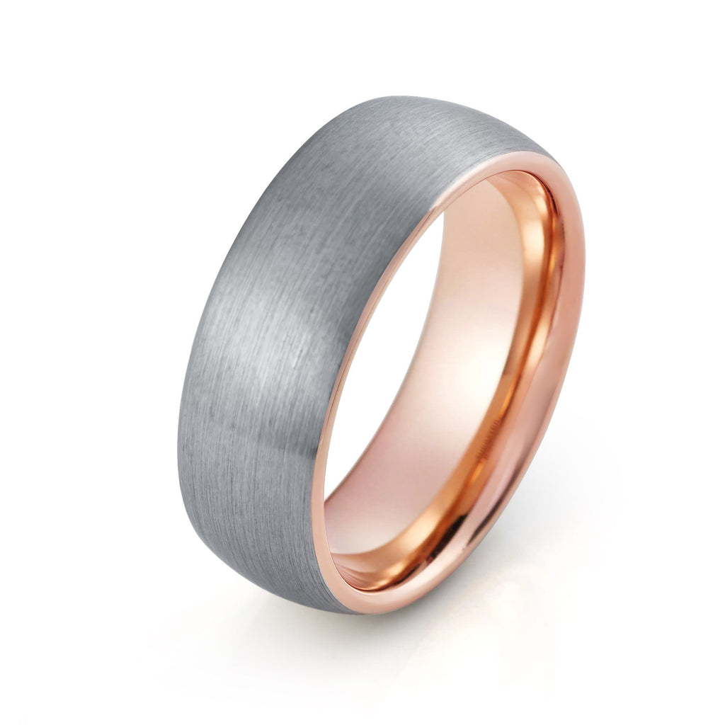 rose comfort wedding dsc products grande gold band cut new pipe brushed rings unisex unique fit
