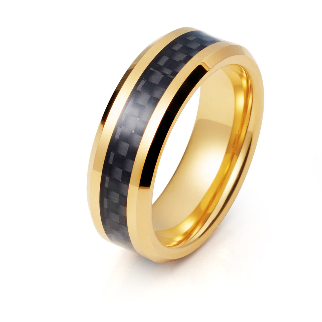 Wedding Ring - 8mm Yellow Gold With Black Carbon Fiber Tungsten Wedding Ring