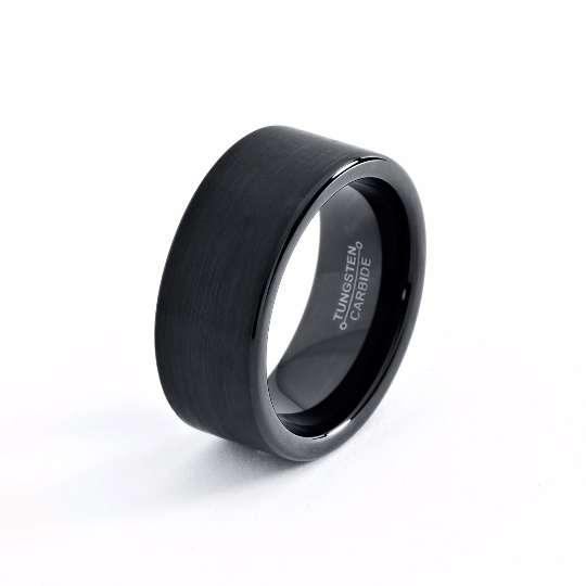 Black Wedding Band Tungsten Carbide 9mm Brushed Black Tungsten Ring Mens Wedding Ring Female Male Matching Set His Hers Black Ring Scratch Proof - TungstenWeddingBands