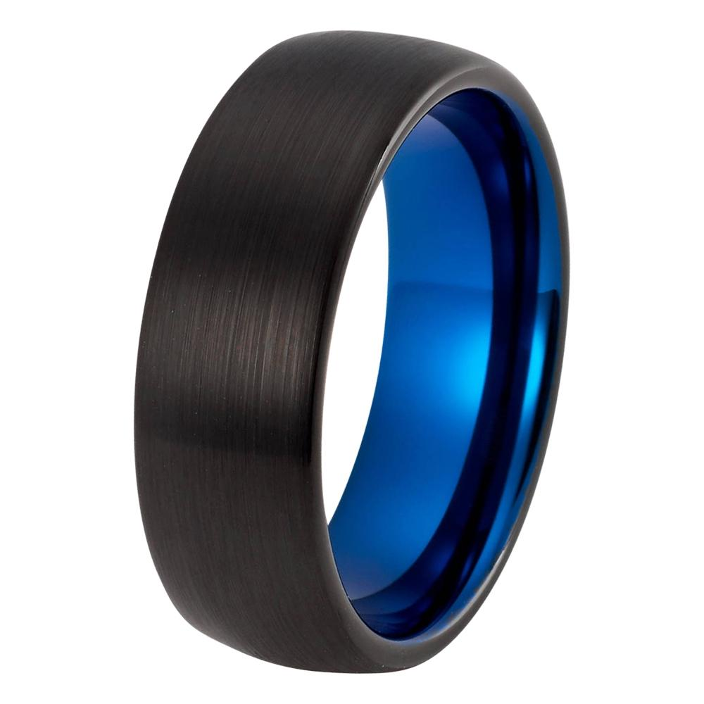 wedding ring black blue wedding band tungsten carbide domed mens wedding band brushed 8mm tungsten - Black And Blue Wedding Rings