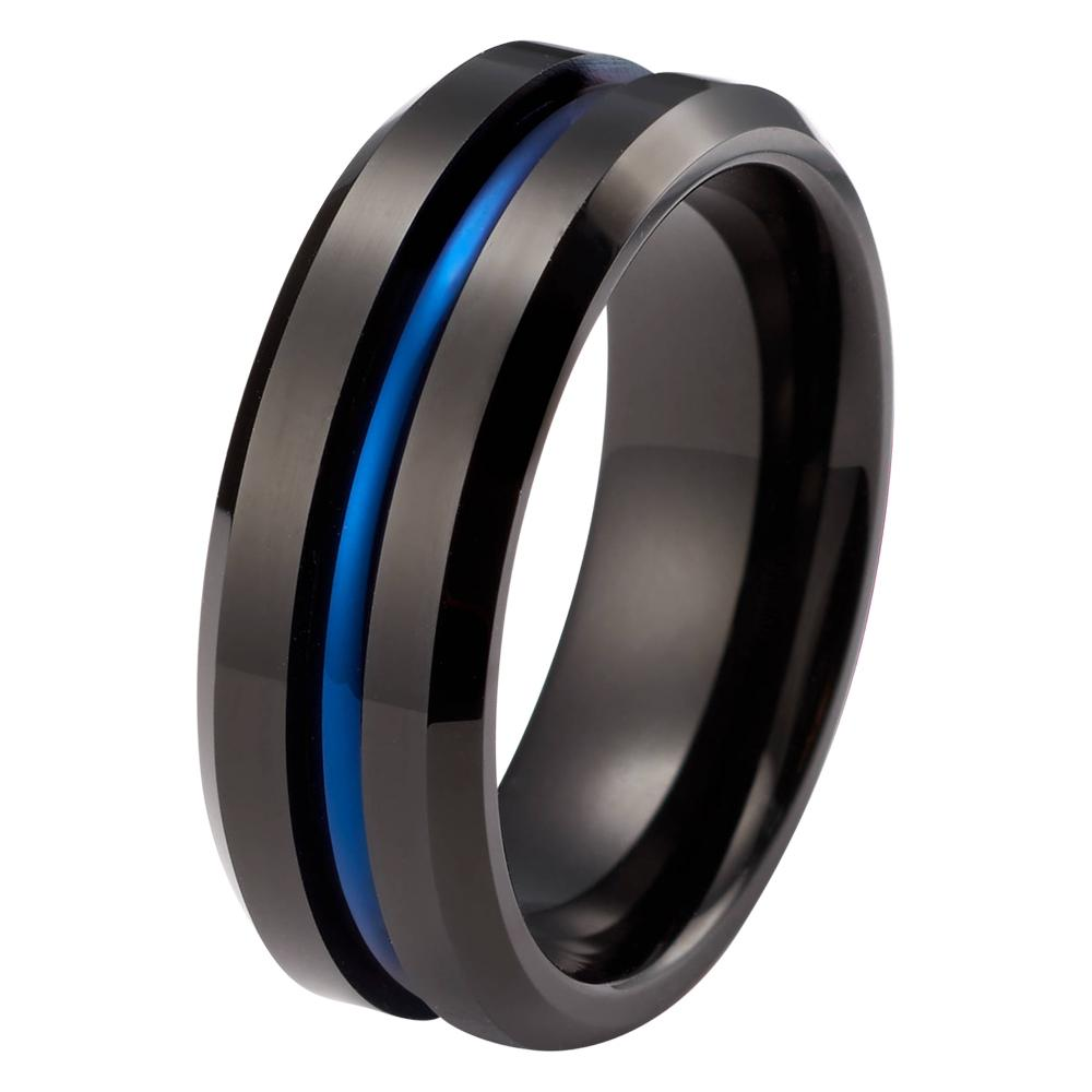 wedding ring black blue wedding ring tungsten carbide mens wedding band high polished 8mm tungsten - Black And Blue Wedding Rings