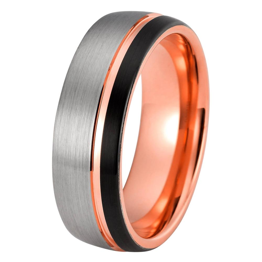 Black Rose Gold Wedding Band Ring Brushed Silver Wedding Ring Tungsten  Carbide 8mm 18K Tungsten Ring