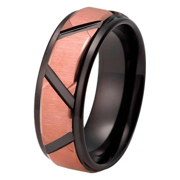 Black Rose Gold Wedding Band Ring Brushed Tungsten Carbide 8mm 18K Tungsten Ring Mens Wedding Band Man Rose Gold Ring Anniversary Matching Black Ring Custom Design - TungstenWeddingBands
