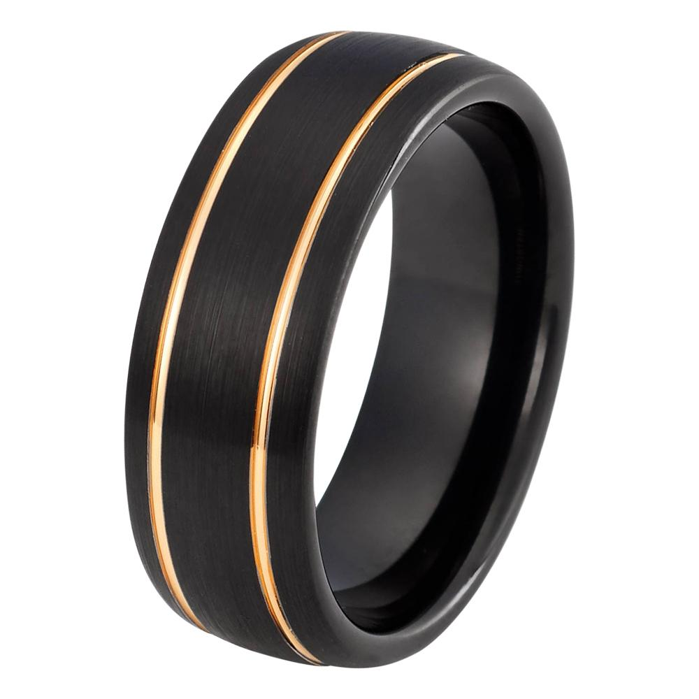 anniversary black gold matching products mens tungsten rings man carbide brushed double band rose wedding groove ring