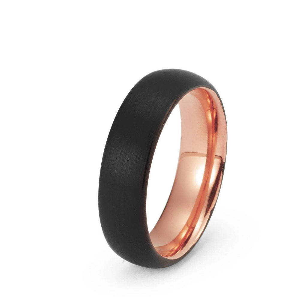 wedding ring black tungsten ring rose gold wedding band ring brushed tungsten carbide 6mm 18k - Man Wedding Ring