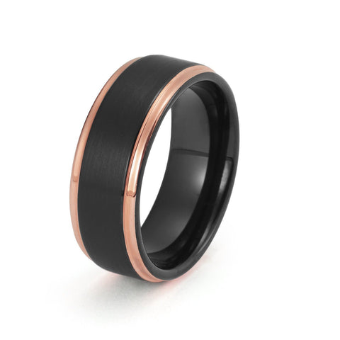 Black Tungsten Ring Rose Gold Wedding Band Ring Brushed Tungsten Carbide 8mm 18K Tungsten Ring Stepped Edges Man Wedding Band Male Promise Women Anniversary His Hers Matching - TungstenWeddingBands