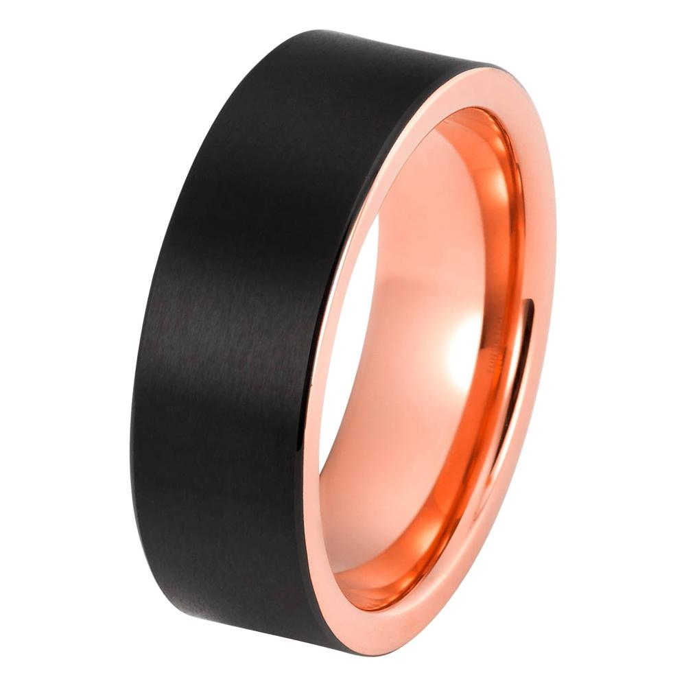 Black Tungsten Ring Rose Gold Wedding Band Ring Tungsten Carbide 8mm 18K Tungsten Ring Brushed Mens Wedding Band Man Engagement Ring Women Anniversary Matching Rose Gold Ring - TungstenWeddingBands