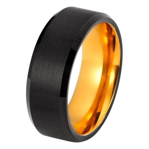 Black Tungsten Ring Yellow Gold Wedding Band Ring Brushed Tungsten Carbide 8mm 18K Tungsten Ring Mens Wedding Band Man Engagement Ring Male Anniversary Beveled Edges - TungstenWeddingBands