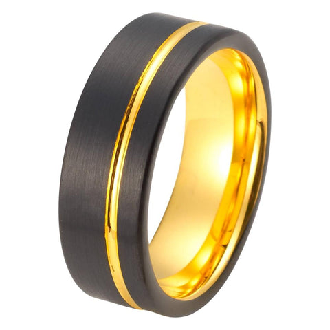 Black Tungsten Ring Yellow Gold Wedding Band Ring Tungsten Carbide 8mm 18K Tungsten Ring Man Wedding Band Male Women Anniversary Promise Offset Groove - TungstenWeddingBands