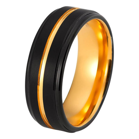 Black Tungsten Ring Yellow Gold Wedding Band Ring Tungsten Carbide 8mm 18K Tungsten Ring Mens Wedding Band Male Women Anniversary Man Engagement Ring Brushed Black Ring - TungstenWeddingBands