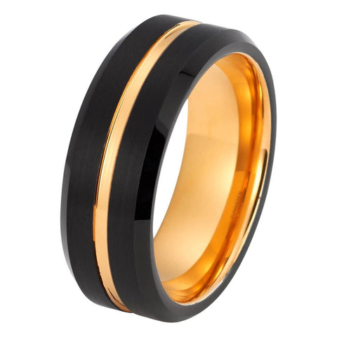 Black Tungsten Ring Yellow Gold Wedding Band Ring Tungsten Carbide 8mm 18K Tungsten Ring Mens Wedding Band Male Women Anniversary Man Engagement Ring Brushed Promise - TungstenWeddingBands